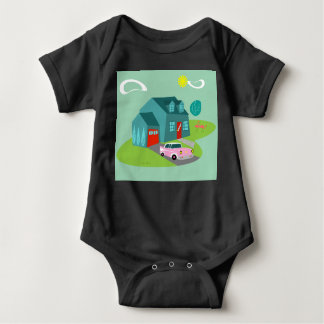 Retro Suburban House Baby Bodysuit