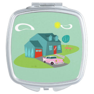 Retro Suburban House Compact Mirror