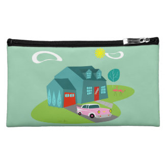 Retro Suburban House Cosmetic Bag