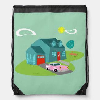 Retro Suburban House Drawstring Bag