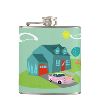 Retro Suburban House Flask