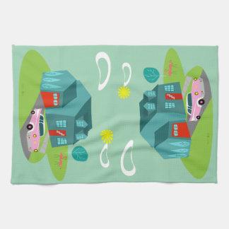 Retro Suburban House Kitchen Towel