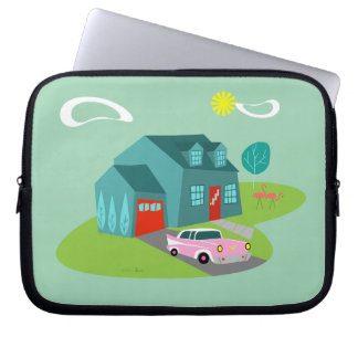 Retro Suburban House Laptop Sleeve