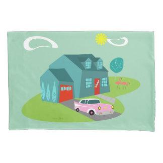 Retro Suburban House Pillowcase