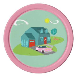 Retro Suburban House Poker Chip