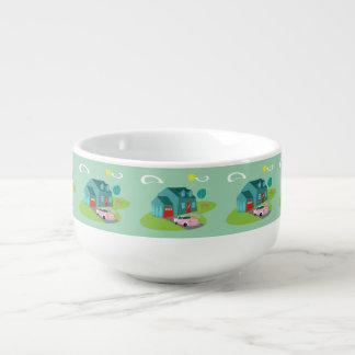 Retro Suburban House Soup Mug