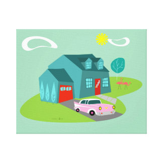 Retro Suburban House Stretched Canvas Print