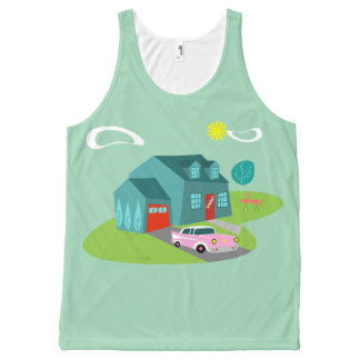 Retro Suburban House Unisex Tank Top