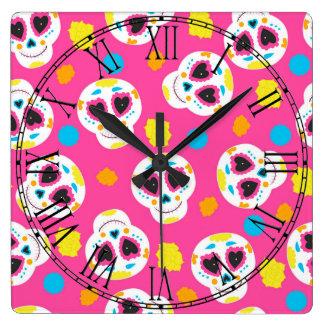 Retro Sugar Skull Square Wall Clock