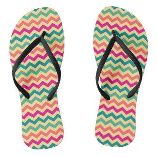 Retro summer wave pattern flip flops
