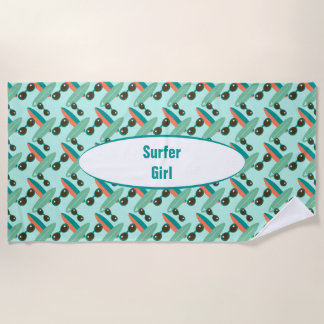 Retro Sunglasses and Surfboards Personalized Beach Towel