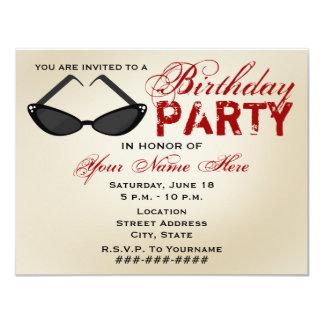 """Retro Sunglasses Birthday Party Invitation 4.25"""" X 5.5"""" Invitation Card"""