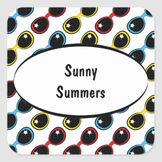 Retro Sunglasses Primary Square Sticker