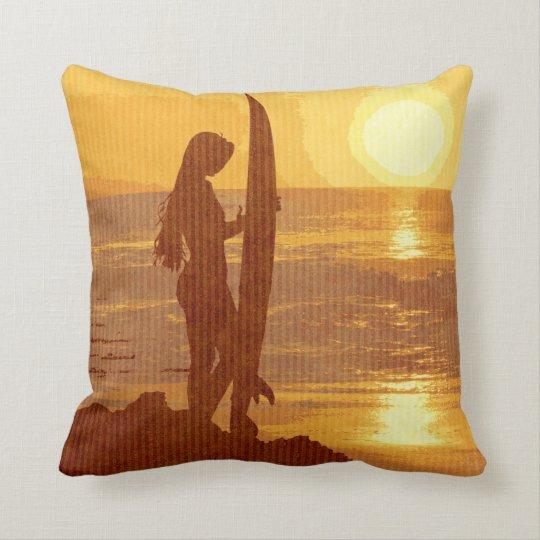 Retro Sunset Surfer Girl Throw Pillow