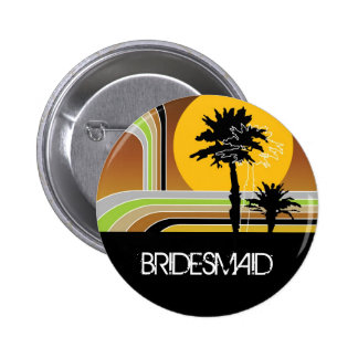 Retro Sunset Tropical Palm Trees Wedding Name Tag 2 Inch Round Button