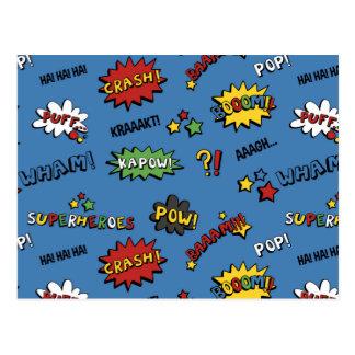 Retro Superhero Kids Pattern Postcard