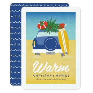 Retro Surf and Sand Beach Christmas Card