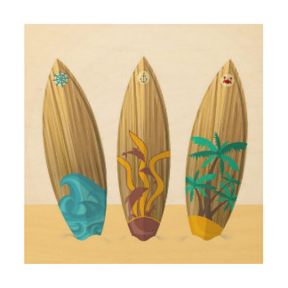 Retro surfboards sun surf and sand wood print