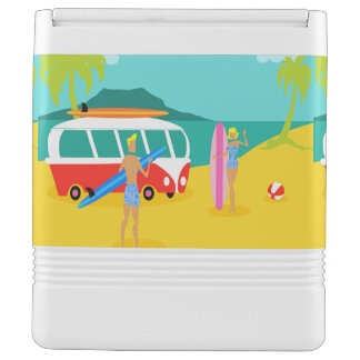 Retro Surfer Couple Igloo Can Cooler