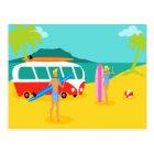 Retro Surfer Couple Postcard