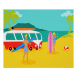 Retro Surfer Couple Poster