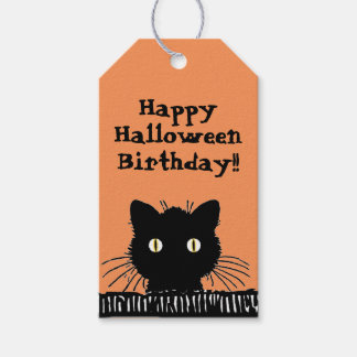 Retro Surprised Black Cat Halloween Birthday Pack Of Gift Tags