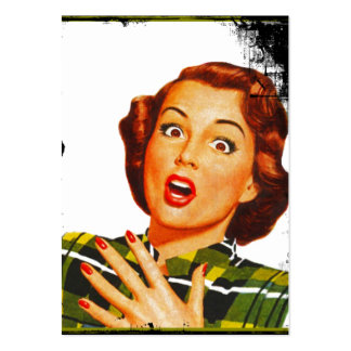 Retro Surprised Housewife Large Business Card