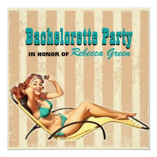 "retro swimsuit pin up girl bachelorette party 5.25"" square invitation card"