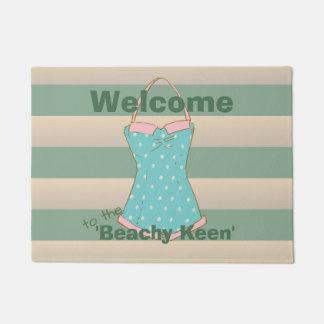 Retro Swimsuit with Kale Cabana Stripes Doormat
