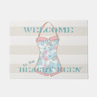 Retro Swimsuit with Pale Hazelnut Cabana Stripes Doormat