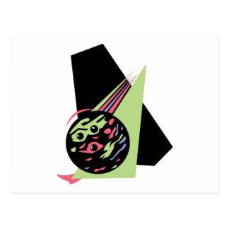 retro swirl bowling ball postcard