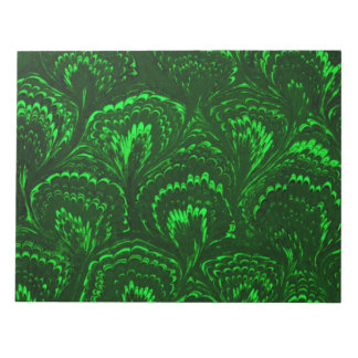 Retro Swirls Emerald Green Notepad
