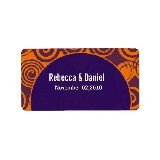 Retro Swirls Wedding Favour Labels