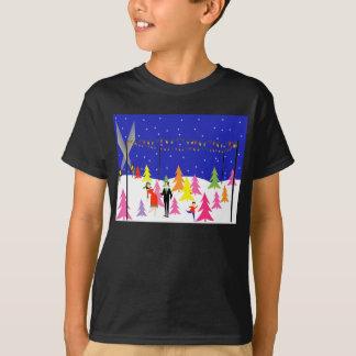 Rétro T-shirt de ferme d'arbre de Noël