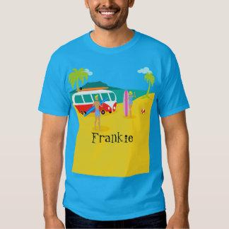 Rétro T-shirt personnalisable de couples de surfer