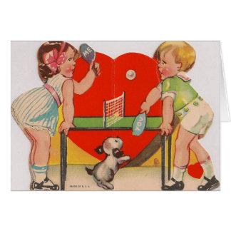 Retro Table Tennis Valentine's Day Card