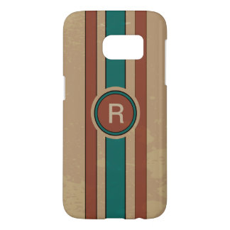 Retro Tan turquoise and brown monogrammed Samsung Galaxy S7 Case