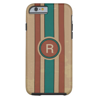 Retro Tan turquoise and brown monogrammed Tough iPhone 6 Case
