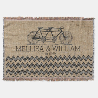 Retro Tandem Bicycle Chevron Burlap Wedding Gift Throw Blanket