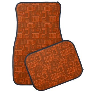 Retro Tangerine Rectangles On Burnt Orange Car Mat