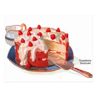 Rétro tarte sablée vintage de fraise de nourriture carte postale
