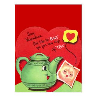 Rétro tasse de thé Valentine Cartes Postales