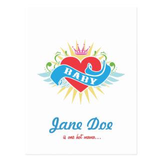 Retro Tattoo Baby Shower Invitations Postcard
