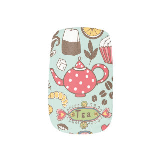 Retro Tea Time Tea Party Kitchen Breakfast Pattern Minx Nail Art
