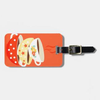 Retro tea vintage tea cups whimsical art luggage tag