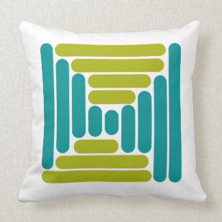 Retro Teal and Green Geometric Abstract Throw Pillow