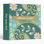 Retro teal, aqua paisley colourful floral recipe vinyl binders