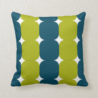 Retro Teal & Chartreuse Throw Pillow