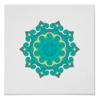Retro Teal Kaleidoscope Abstract Poster