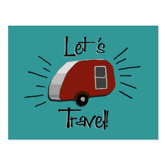 Retro Teardrop Camper Postcard